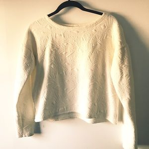 Ivory Cropped Design Sweater